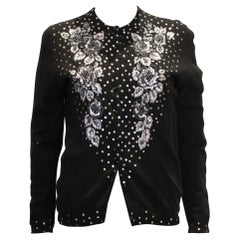 Vintage Black Wool Cardigan with Wonderful Pearl, Sequin and Bead detail.