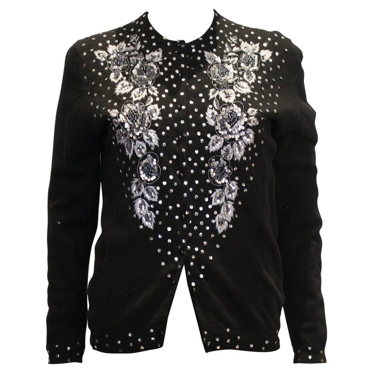 Vintage Black Wool Cardigan with Wonderful Pearl, Sequin and Bead detail. For Sale