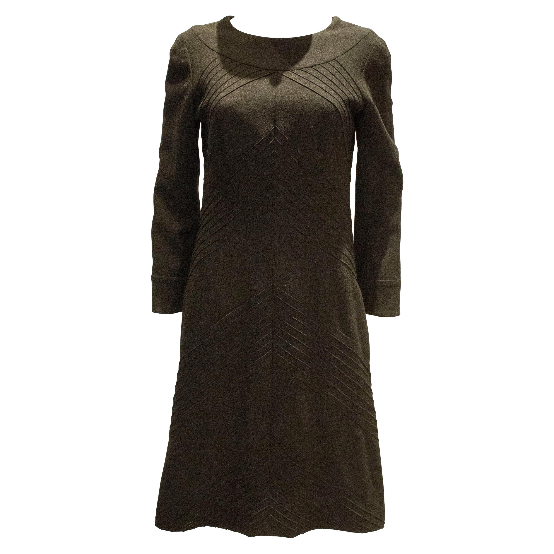 Vintage Black Wool Hartnell  Dress