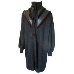 Vintage Black Wool Mink Fur Coat Vest