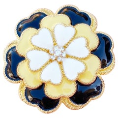 Vintage Black, Yellow & Cream Enamel Figural Flower Statement Brooch, 1990s