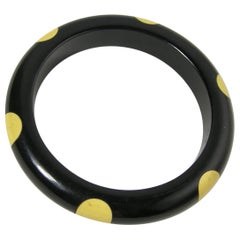 Vintage Black & Yellow 'Dot' Bakelite Bangle Bracelet