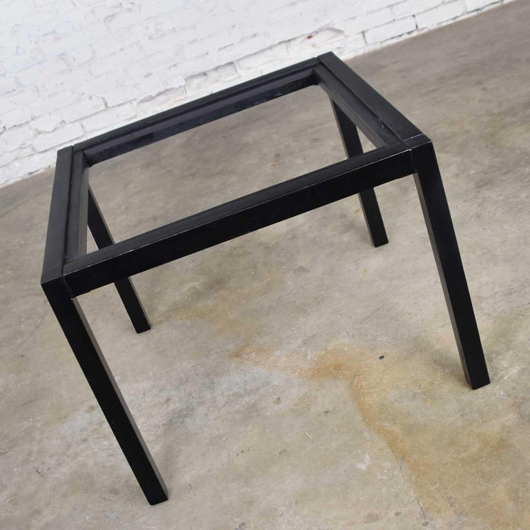 Vintage Blackened Oak Square Parsons Style Side Table with Glass Top For Sale 4