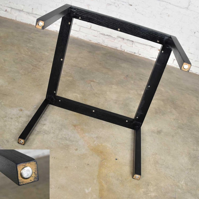 Vintage Blackened Oak Square Parsons Style Side Table with Glass Top For Sale 5