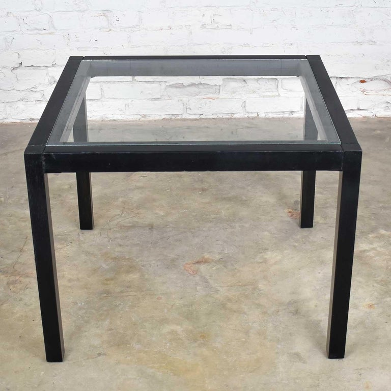 Mid-Century Modern Vintage Blackened Oak Square Parsons Style Side Table with Glass Top For Sale