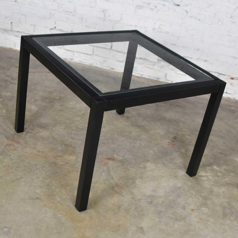 Unknown Vintage Blackened Oak Square Parsons Style Side Table with Glass Top For Sale