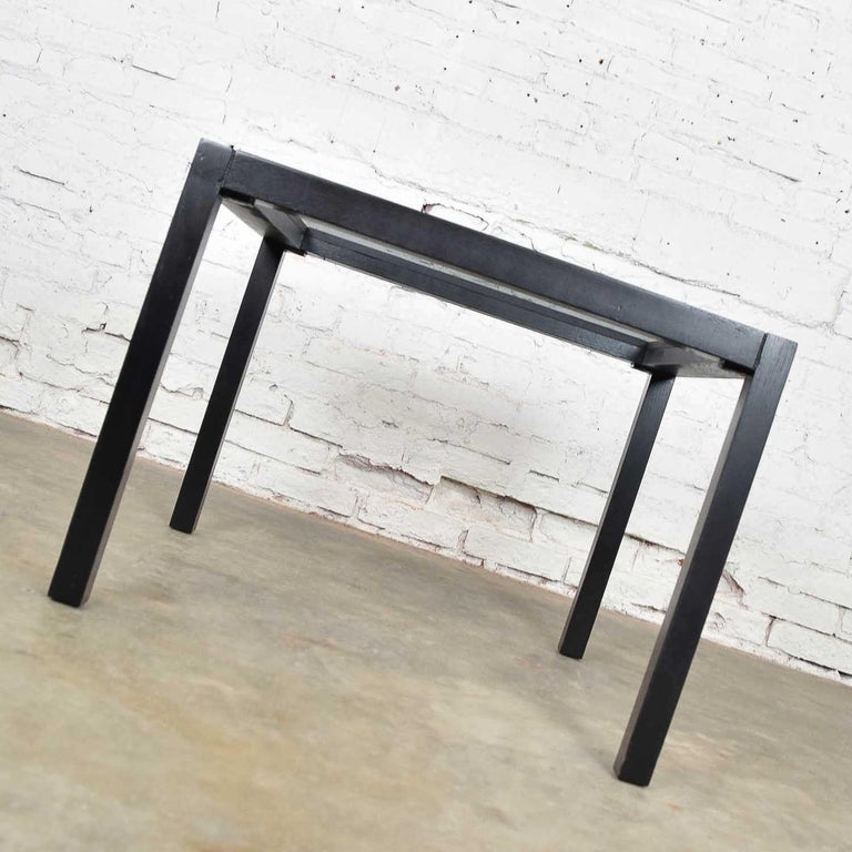 20th Century Vintage Blackened Oak Square Parsons Style Side Table with Glass Top For Sale