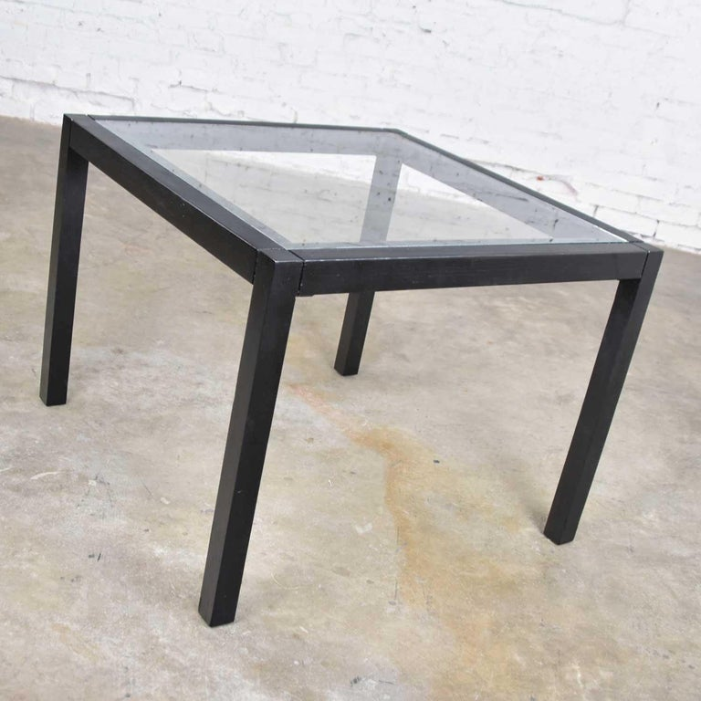 Vintage Blackened Oak Square Parsons Style Side Table with Glass Top For Sale 3