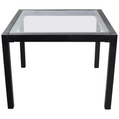 Vintage Blackened Oak Square Parsons Style Side Table with Glass Top