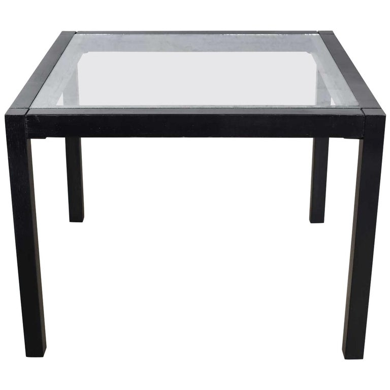 Vintage Blackened Oak Square Parsons Style Side Table with Glass Top For Sale