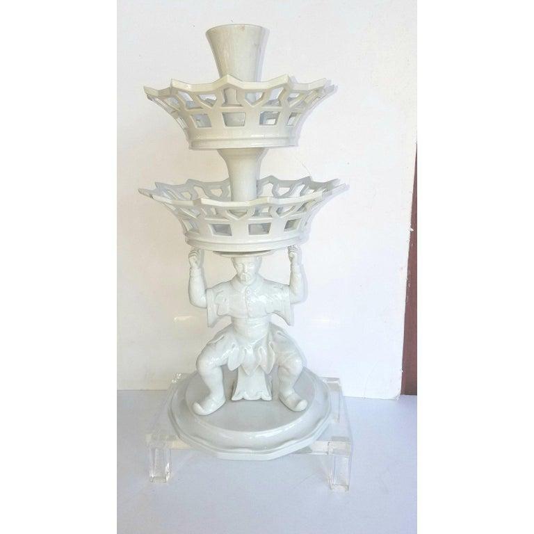 Porcelain Vintage Blanc De Chine Chinoiserie Mottahedeh Epergne by Vista Alegre