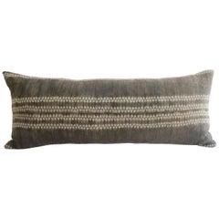 Vintage Bleached Batik Textile Lumbar Pillow