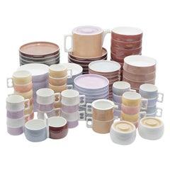 "Vintage Block Chromatics ""Beige Black"" Ceramic Dinnerware Set (87 pcs), 1970s"