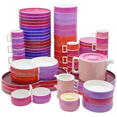"Vintage Block Chromatics ""Red Lavender"" Ceramic Dinnerware Set '69 pcs', 1970s"