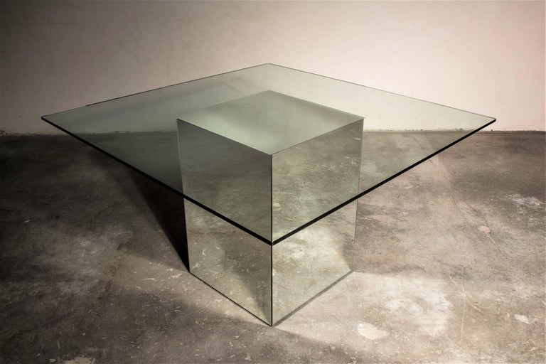 Vintage Block Table with Blocco Pouf Set by Nanda Vigo, 1970, Italy For Sale 1