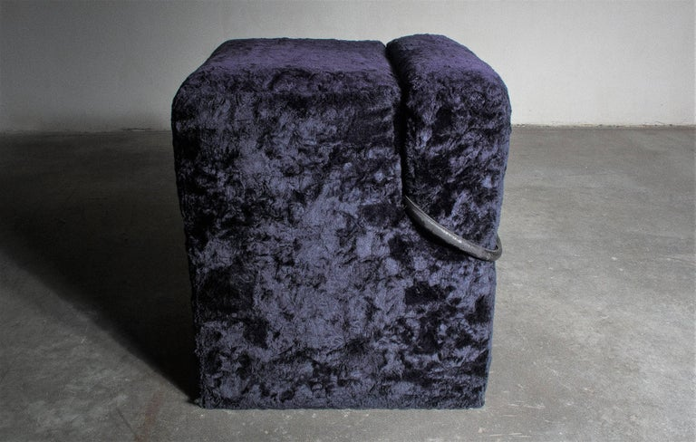 Vintage Block Table with Blocco Pouf Set by Nanda Vigo, 1970, Italy For Sale 2