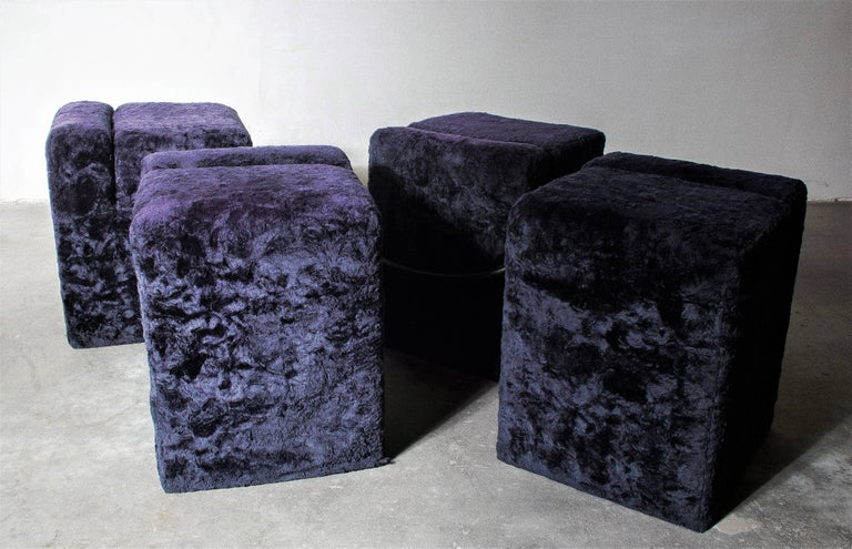 Vintage Block Table with Blocco Pouf Set by Nanda Vigo, 1970, Italy For Sale 3
