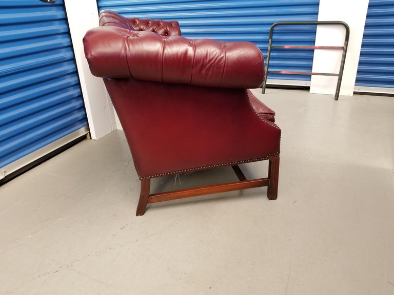 Mid-20th Century Vintage Blood Red Leather Chesterfield Sofa For Sale
