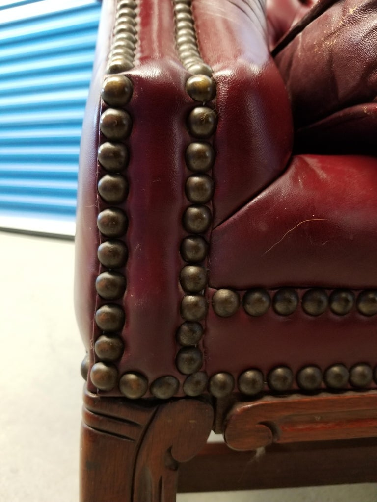 Vintage Blood Red Leather Chesterfield Sofa For Sale 2