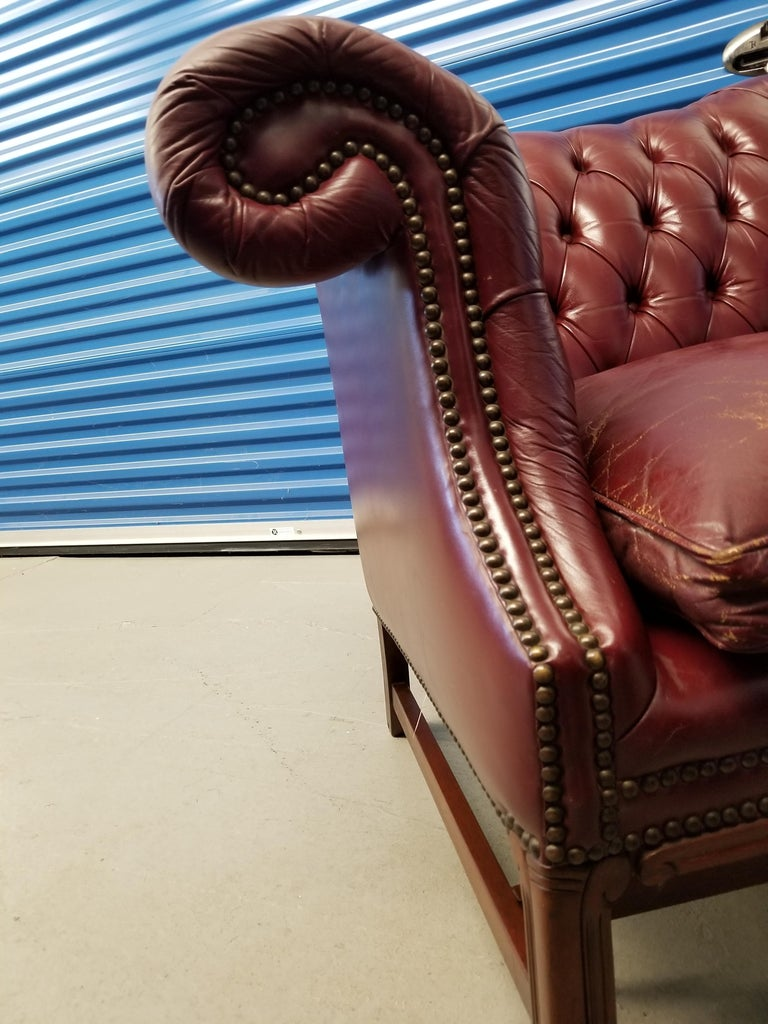Vintage Blood Red Leather Chesterfield Sofa For Sale 3