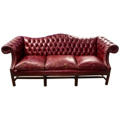 Chesterfield Leather Sofa Oxblood Red Three Seat Couch Retro Vintage
