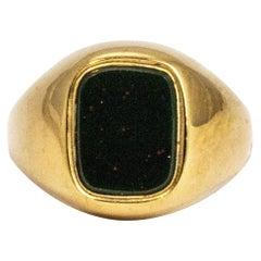 Vintage Blood Stone 9 Carat Gold Signet Ring
