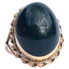 Vintage Bloodstone and 9 Carat Gold Ring