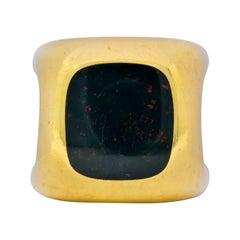 Vintage Bloodstone Inlay 18 Karat Yellow Gold Unisex Signet Ring