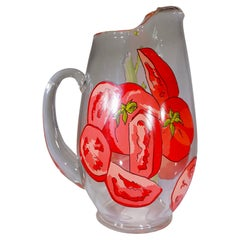 Vintage Bloody Mary Glass Pitcher Featuring Tomato and Celery Design