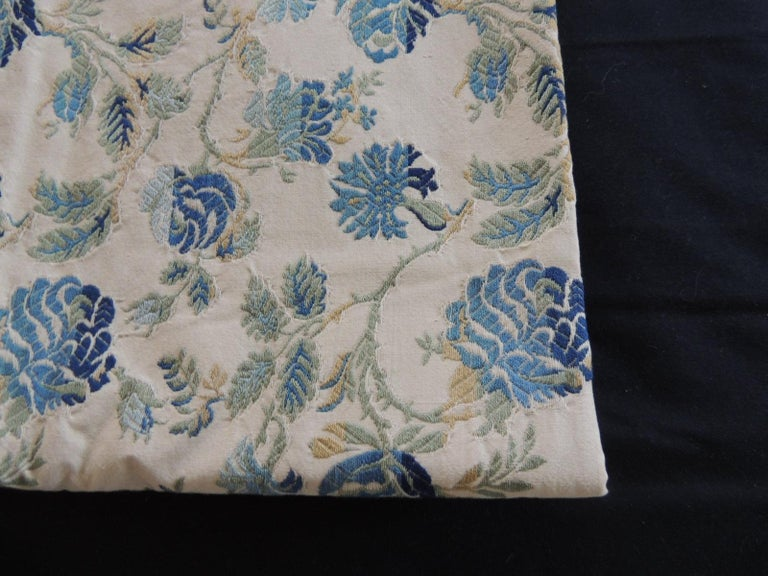 Vintage Blue and Green French Silk Lampas Damask Textile Panel.