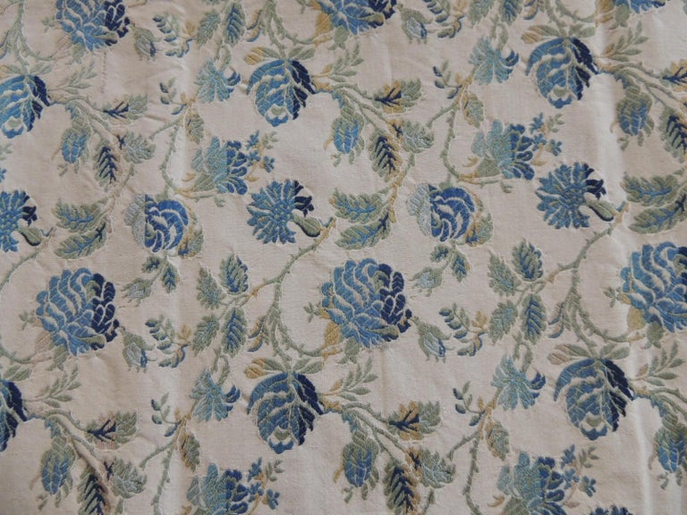 Regency Vintage Blue and Green French Silk Lampas Damask Textile Panel For Sale