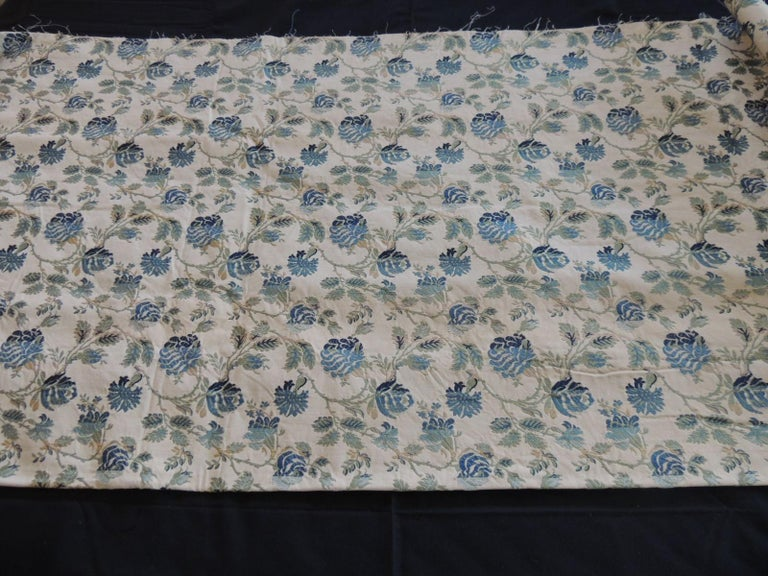 Vintage Blue and Green French Silk Lampas Damask Textile Panel In Good Condition For Sale In Wilton Manors, FL