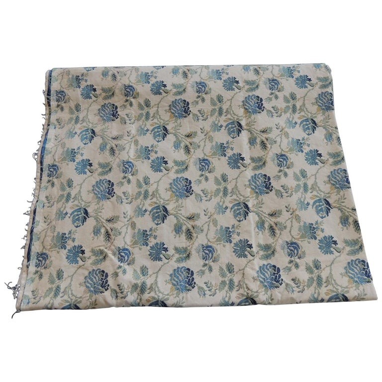 Vintage Blue and Green French Silk Lampas Damask Textile Panel For Sale