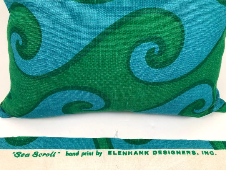 Mid-Century Modern Vintage Blue and Green Sea Scroll Pattern Pillows Hand Printed by Elenhank For Sale