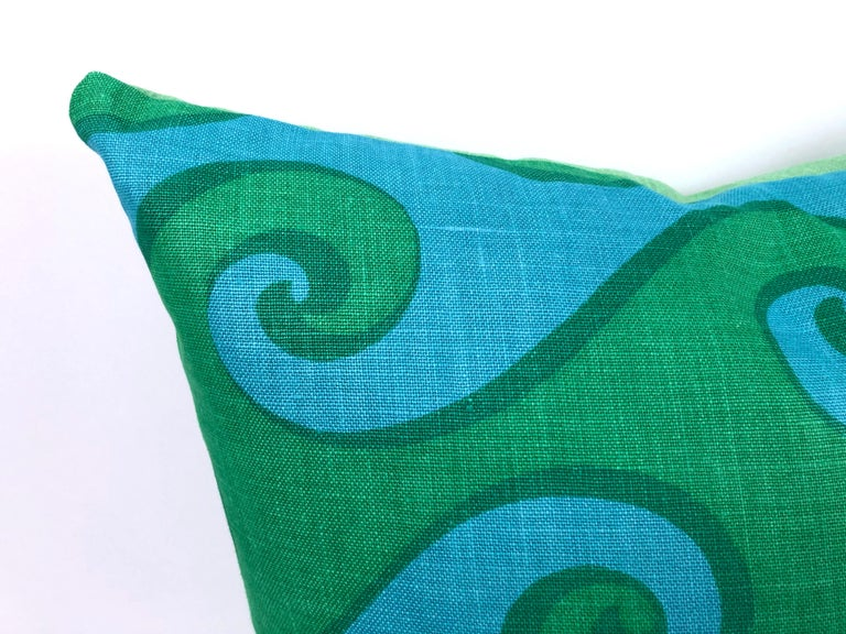 American Vintage Blue and Green Sea Scroll Pattern Pillows Hand Printed by Elenhank For Sale