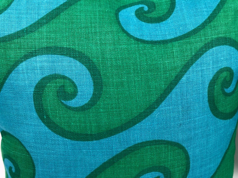 Hand-Crafted Vintage Blue and Green Sea Scroll Pattern Pillows Hand Printed by Elenhank For Sale