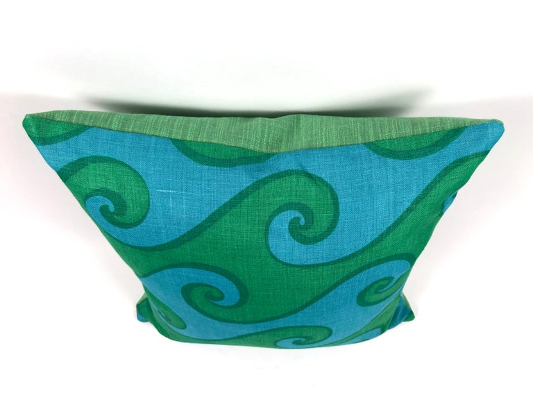 Vintage Blue and Green Sea Scroll Pattern Pillows Hand Printed by Elenhank In Excellent Condition For Sale In Essex, MA
