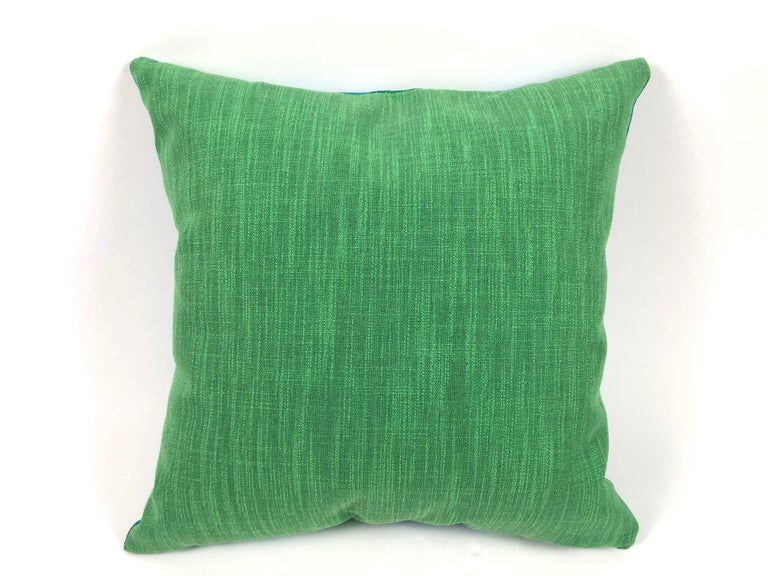 Mid-20th Century Vintage Blue and Green Sea Scroll Pattern Pillows Hand Printed by Elenhank For Sale