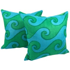 Vintage Blue and Green Sea Scroll Pattern Pillow Hand Printed by Elenhank