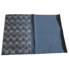Vintage Blue and Grey Silk Obi Textile with Hexagonal Designs Fragment