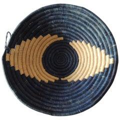 Vintage Blue and Natural Coiled Decorative Basket