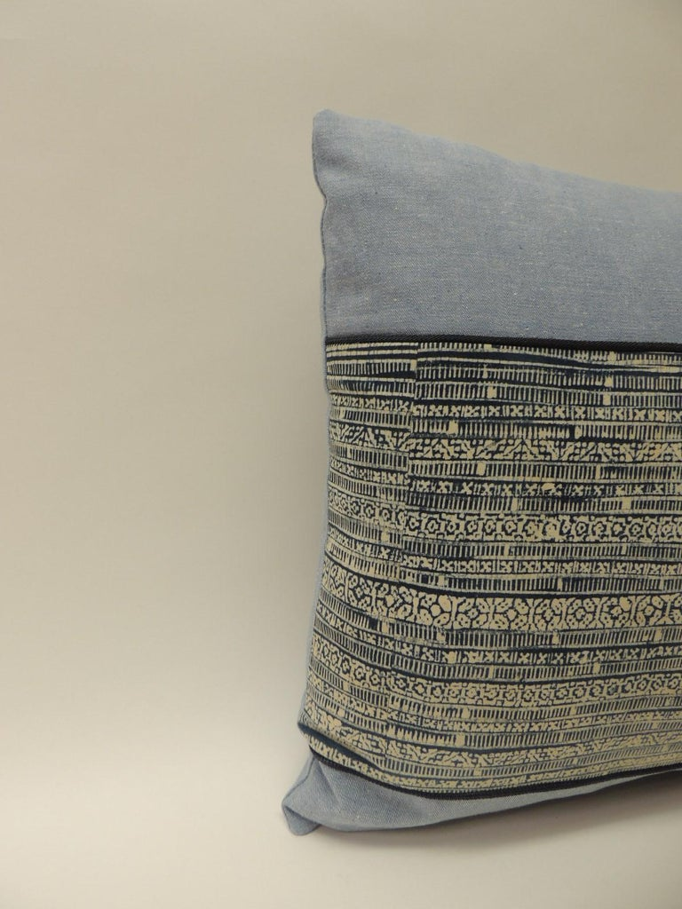 Vintage blue and natural hand-blocked tribal batik square decorative pillow, framed with same cotton textile and backing. Embellished with a small blue trim. Decorative pillow handcrafted and designed in the USA. Closure by stitch (no zipper