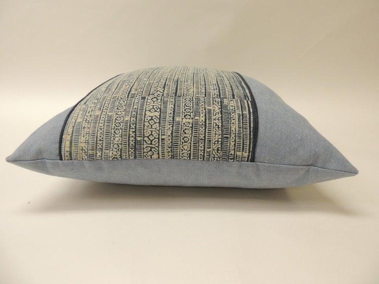 Thai Vintage Blue and Natural Hand-Blocked Tribal Batik Decorative Pillow For Sale
