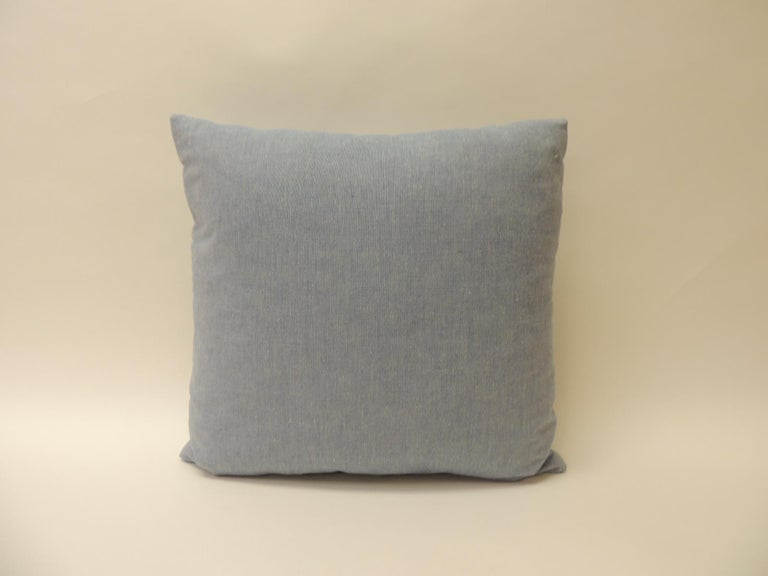 Hand-Crafted Vintage Blue and Natural Hand-Blocked Tribal Batik Decorative Pillow For Sale