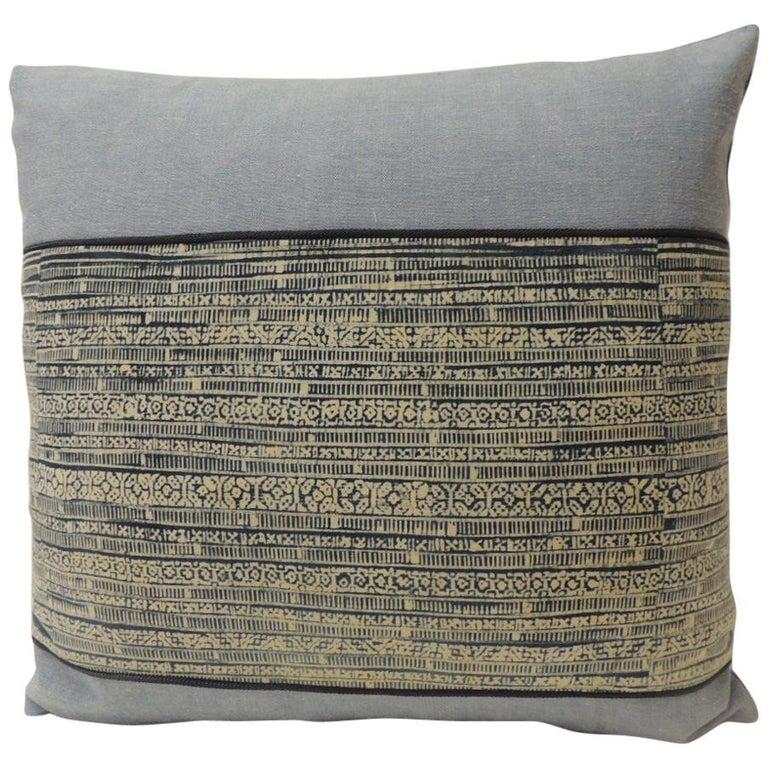 Vintage Blue and Natural Hand-Blocked Tribal Batik Decorative Pillow For Sale