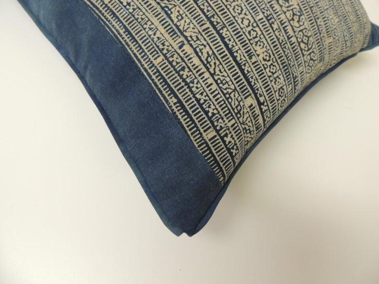 Thai Vintage Blue and Natural Hand-Blocked Tribal Batik Lumbar Decorative Pillow For Sale