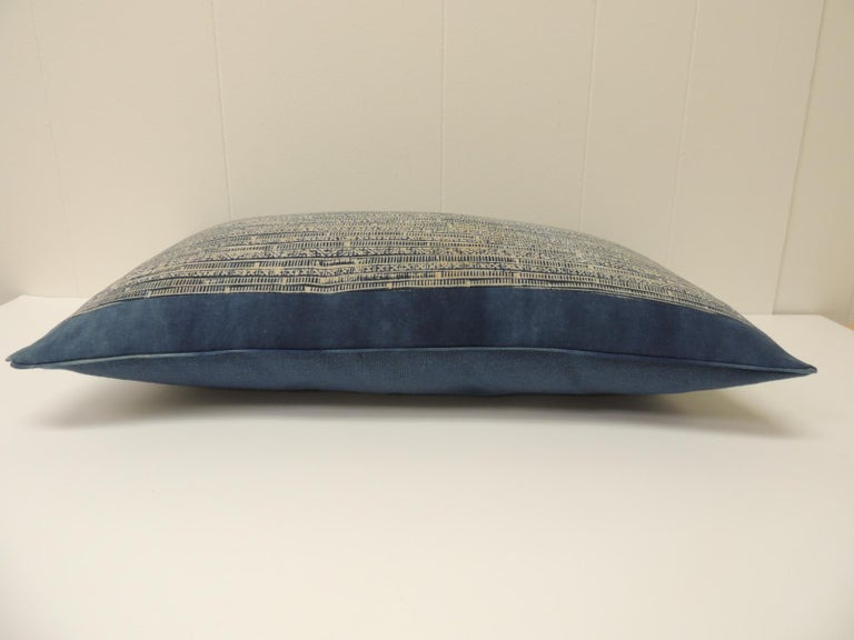 Hand-Crafted Vintage Blue and Natural Hand-Blocked Tribal Batik Lumbar Decorative Pillow For Sale