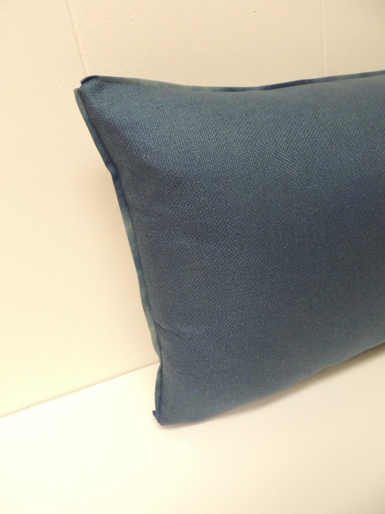 Vintage Blue and Natural Hand-Blocked Tribal Batik Lumbar Decorative Pillow In Good Condition For Sale In Fort Lauderdale, FL