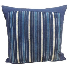 Vintage Blue and Natural Yoruba African Square Decorative Pillow