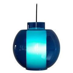 Vintage Blue and Opaline Glass Pendant Lamp, 1960's
